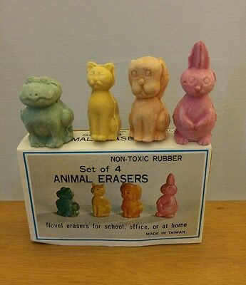 Vintage set of 4 Animal Rubber Erasers New in Box Taiwan Novelty