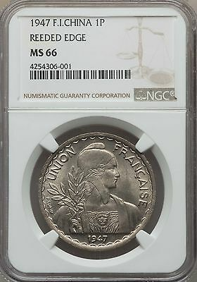 1947 French Indo China Piastre, Reeded Edge, NGC MS 66, None Finer @ NGC