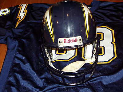 1990s SAN DIEGO CHARGERS GAME USED FOOTBALL HELMET DAVID GRIGGS STICKER RIDDELL