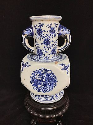 Chinese antique late Qing blue and white vase