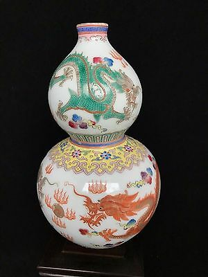 Chinese antique late Qing famille rose gourd vase Qinglong mark
