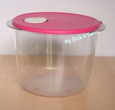 Tupperware Rock N Serve Microwave Container 3.3 Liter Clear/Pink  New