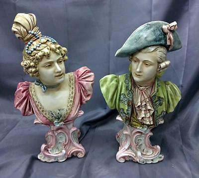 Antique Old Faience Majolica Art Pottery Ceramic Pair Statues French Man Woman