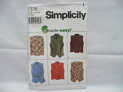 Simplicity # 7376~ 6 Made Easy Misses' Vests Pattern Sz12-16