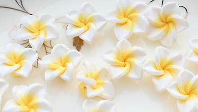 150pcs White Fimo Polymer Clay Plumeria Flower Beads 20mm