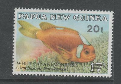 1989 Papua New Guinea 20t surcharge on 17t Anemonefish ( FISH ) SG #602 MUH