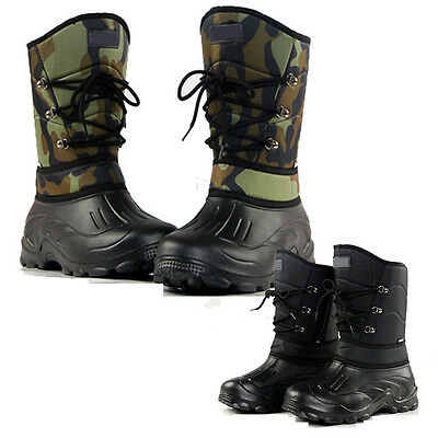 Men Camo Winter Warm Fleece Snow Shoes Waterproof Fishing Hiking Ski Ankle Boots