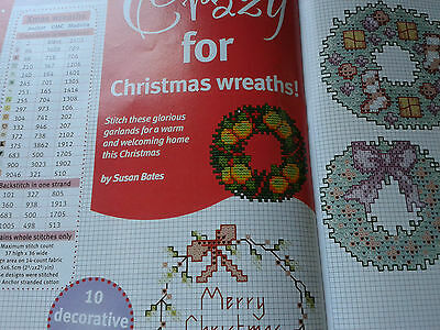 cross stitch charts CRAZY FOR CHRISTMAS WREATHS by Susan Bates (crazy 104)