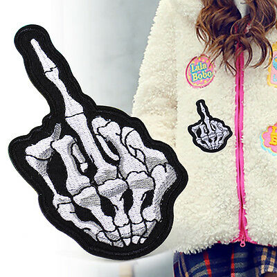 2x Middle Skull Finger Sew Iron on Patch Embroidered Badge Applique Sewing Craft