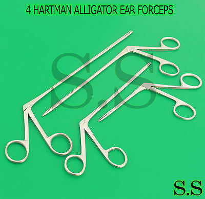 4 Hartman Alligator Ear Forceps Serrated 3.5'' 5.5'' 6.5'' 8'' Ent Surgical
