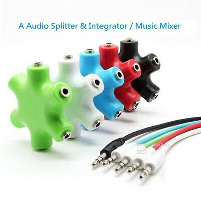 3.5mm Earphone Headphone Audio Splitter 1 Male to 2 3 4 5 Female Port Cables