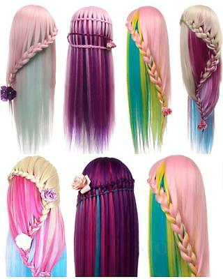 """New 26"""" Hairdressing Colorful Long Human Hair Mannequin Doll Training Head"""