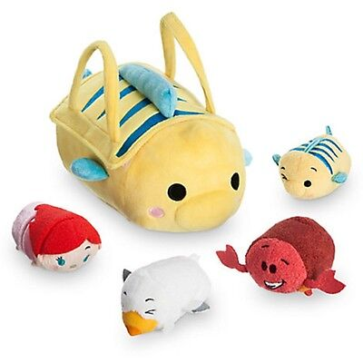 DISNEY STORE EXCLUSIVE The Little Mermaid Flounder Bag With 4 Tsum Mini - Ariel