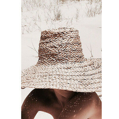 Amazing Huge Handmade Raffia Natural Woven Summer Hat With Extra Wide Brim!