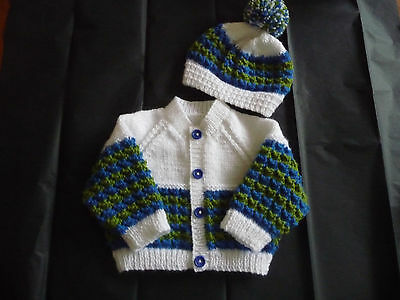 "New Hand Knitted Baby Cardigan & Hat ~ 16"" ~  Boy ~ (0 - 3 months) White / multi"