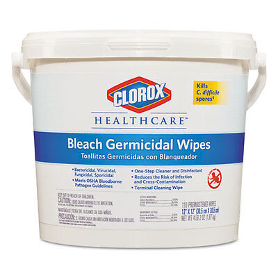 Clorox Healthcare Bleach Germicidal Wipes, 12 x 12, Unscented, 110/Bucket