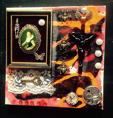 Mixed Media Collage Assemblage Art Altered Art Vintage Canvas 8 X 8 In