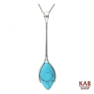 STERLING SILVER 925 with TURQUOISE GEMSTONE PENDANT & chain. KAB-263