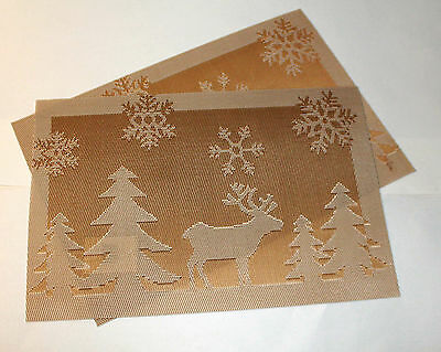 Set of 2 Large Christmas Placemats Dinning Room Jacquard Table Mat GOLD REINDEER