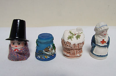 Bryn Welsh Lady & Corfu & Christmas Cottage & Nurse Thimbles Collectable