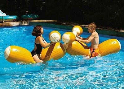 Log Flume Joust Set Ride on Inflatable Knock down Battle Pool Toy Swimline 9084