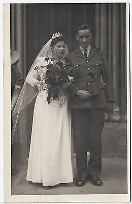 WEDDING OF A UNIFORMED SOLDIER - Bridal Bouquet - c1920s Real Photo postcard