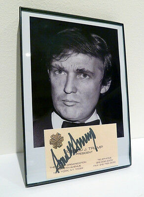 Donald Trump SIGNED Business Card & Photo Framed - Playboy Business Man  REPRO