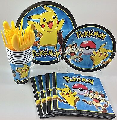 BashBox Pokemon Birthday Party Supplies Pack Including Cake & Lunch Plates, Cutl