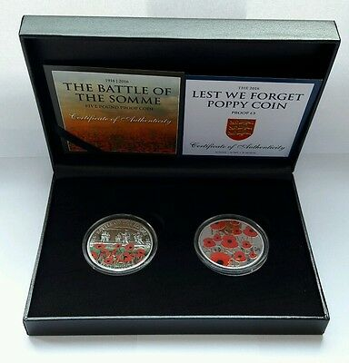 2016 Remembrance Poppy & Battle of the Somme 100 years WW1 £5 Proof Coins COA