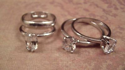 Sterling CZ Engagement Solitaire Rings LOT