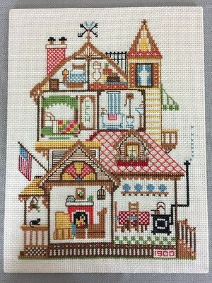 America's Doll House Vintage Finished Completed Hand Embroidery Cross Stitch