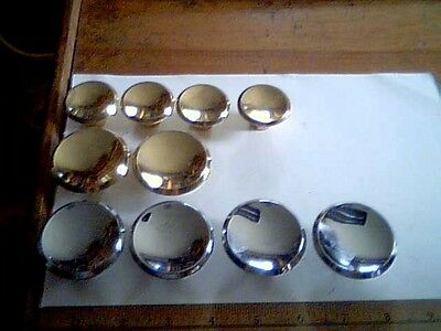 10 Brass Drawer Pulls vintage old hardare dresser + threaded bolts