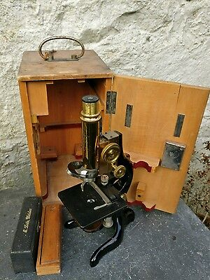 1920s Ernst Leitz Wetzlar Microscope with 3 objectives lens & other Accessories