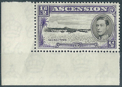 Ascension Island. 1938/53. MM. SG 38 1/2d Black & violet. Corner Margin. (H440)