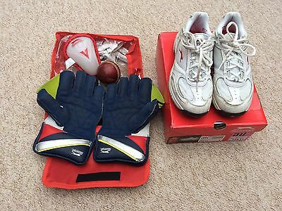 Boys Cricket boots, gloves, ball and box