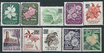 b197] Norfolk Island. 1966.  Fine MM. SG 60 to 69. Decimal Currency Surcharge