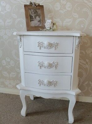 white bedside table chest of drawers floral french distressed painted furniture