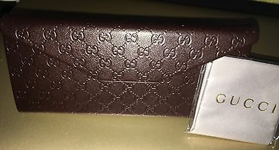 BRAND NEW Genuine Foldable Gucci Guccissima Eyeglasses/Sunglasses Case & Cloth