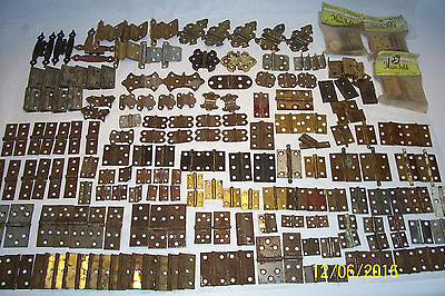 Over 200 Vintage Small Hinges, Pairs, Singles, Sets, Shutter, Cabinet, Box