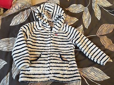 Girls Next Cream And Blue Stripe Fluffy Cat Design Hooded Jacket Age 2-3 Years
