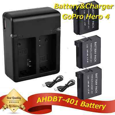 3x Decoded AHDBT-401 Battery + USB Charger For GoPro Hero 4 Outdoor Sport Camera