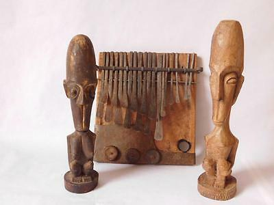 African Kalimba Mbira Thumb Piano And Two Carved Figures