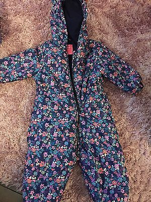 Next Girls Floral Snow Suit. Great Condition 12-18 Months