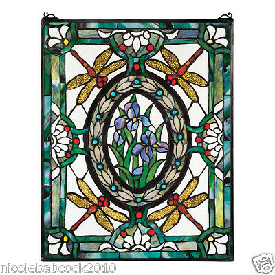 Enamelled Dragonfly & Lillies  Floral Stained Glass Window Victorian Style