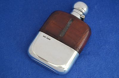 Antique James Dixon Crocodile Leather & Solid Silver Hip Flask 1904 - xmas gifts
