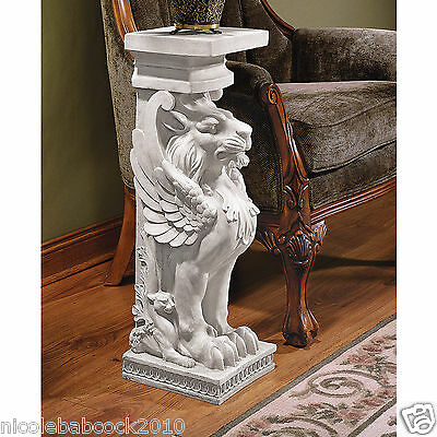 "30"" Trapezophoron Griffin Winged Lion Eagle Sculpture Statue Pedestal"