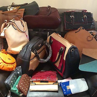 wholesale joblot mix of handbags purses and a clutch. Brand New 21 items