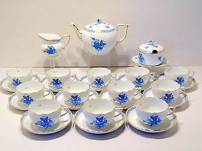 Herend Chinese Bouquet Blue Tea Service For 12,new Retail 3,065.-Usd,27 Pieces