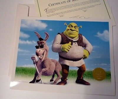 Shrek DreamWorks Lithograph Poster Official Gold Seal Numbered 2001 Certificate