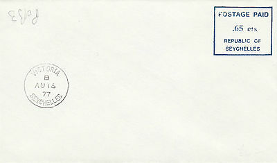 A 377 Seychelles 65c postage paid mark CTO Victoria cds cover